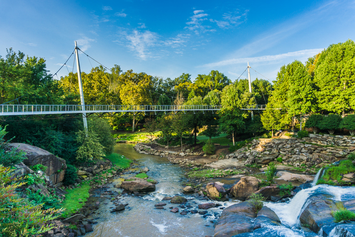 The Liberty Bridge located in Falls Park on the Reedy in Greenville, South Carolina